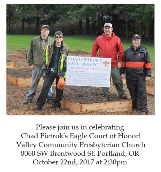 Chad Pietrok Eagle Court of Honor Invitation